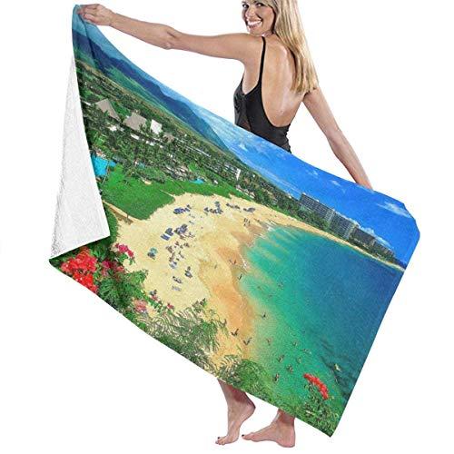 Lsjuee Toalla de playa Kaanapali Beach Maui Hawaii Toalla de piscina Super Soft Extra Large Premium Bath Sheet Toallas de baño altamente absorbentes para deportes Spa Hotel Yoga Beach Surfing 80X130CM