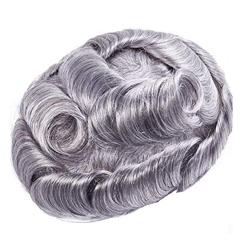 Rubyonly Hombres Toupee Vloop Hairpoja Delgada PU 0.6-0.8mm Peluca de Pelo Humano Indian Remy Sistema de Pelo Color 1b80
