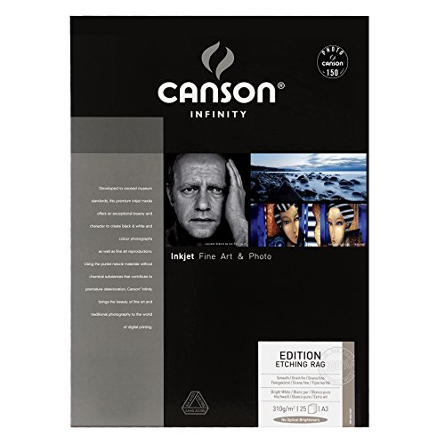 Caja A3, 25 Hojas, Canson Infinity Edition Etching Rag, 100% Algodón, 310g