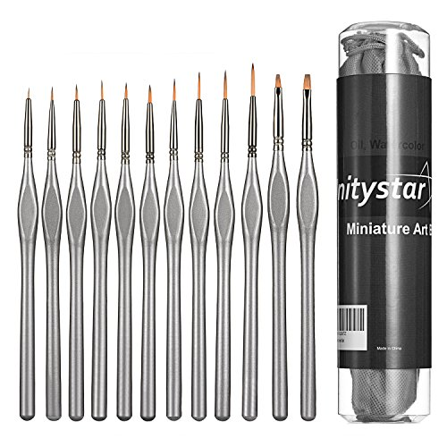 UnityStar 12-Set Miniature Paint Brushes Detail Set for Fine Detailing, Acrylic, Watercolor, Oil, Model, Art and Face Painting, Plastic Holder and Nonwoven Bag Included