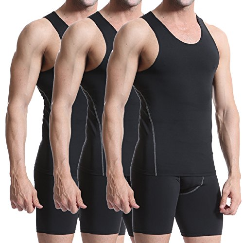 Men's 3 Pack Compression Athletic Tank Top, Base Layer Sport Tank Top
