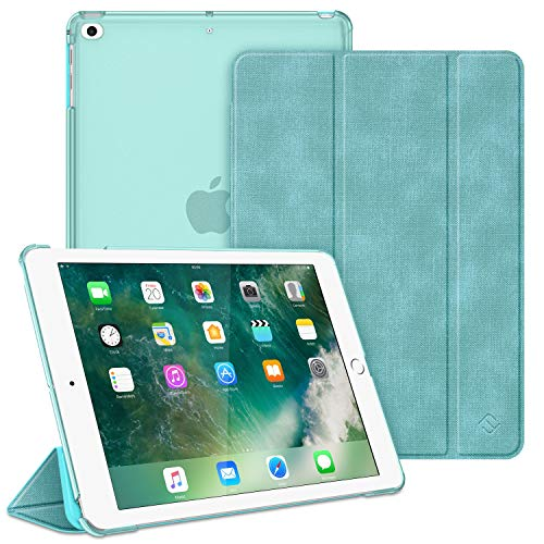 Fintie Hülle für iPad 9.7 Zoll 2018 2017 / iPad Air 2 (2014) / iPad Air (2013) - Ultradünn Schutzhülle mit transparenter Rückseite Abdeckung Cover mit Auto Schlaf/Wach Funktion, Jeansoptik Türkis