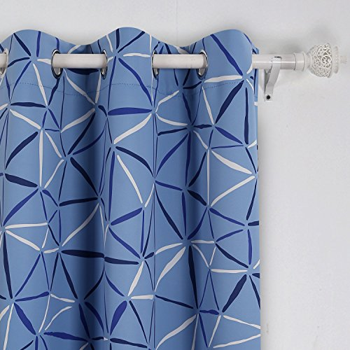 Deconovo Printed Blackout Thermal Insualted Grommet Room Darkening Drape Curtains for Office 42W x 63L Inch Light Blue