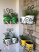 NAYAB (Set of 4) Vintage Scrolled Wall Mounted Hanging Iron Small Plant Holder Stand Rack Without Pot Planters 27 x 14 x...