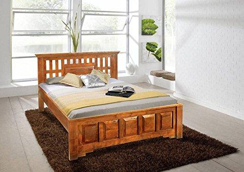 MASSIVMOEBEL24.DE Oxford Bett Classic #0261 Akazie Honig massiv Kopfteil mit Lochmuster - Akazie Honig 140x200