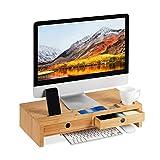 Relaxdays Monitorständer, aus Bambus, Bildschirmerhöhung mit 2 Schubladen & Ablagen, Schreibtisch,...