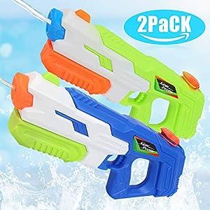 O-Kinee Pistola de Agua Juguete de los Niños 2pcs Super Soaker Blaster de Agua Pistolas De Agua,para Verano Piscina Al Aire Libre Playa Diversión Acuática para Niños Adultos (2pcs)