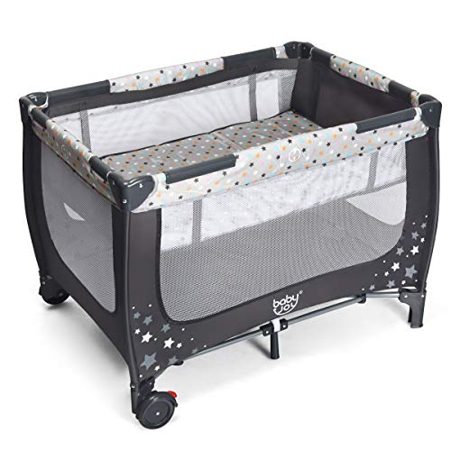 GLACER Baby Playard with Full-Size Infant Bassinet, Easy Folding Portable Playpen with Wheels, Breathable Mattress and Carry Bag, Multifunctional Installation-Free Travel Crib for Toddlers (Gray)