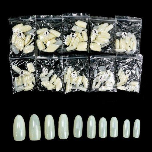 Plein ovale de couverture/Rond faux ongles en acrylique artificielles bouts d'art Nails entières 500pcs - code naturel: # 590N
