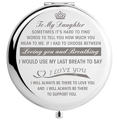 Daughter Gifts from Mom, Graduation Gifts for Her, Mothers Day Present for Daughter, Engraved Pocket Mirror