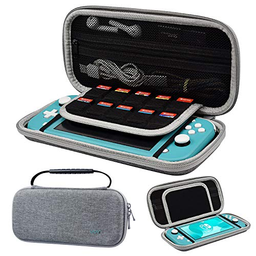 EAONE Switch Lite Carrying Case Storage Bag for Nintendo Switch Lite and Switch Lite Accessories Storage Bag with 10 Game Cartridges for Nintendo Switch Lite, Gray