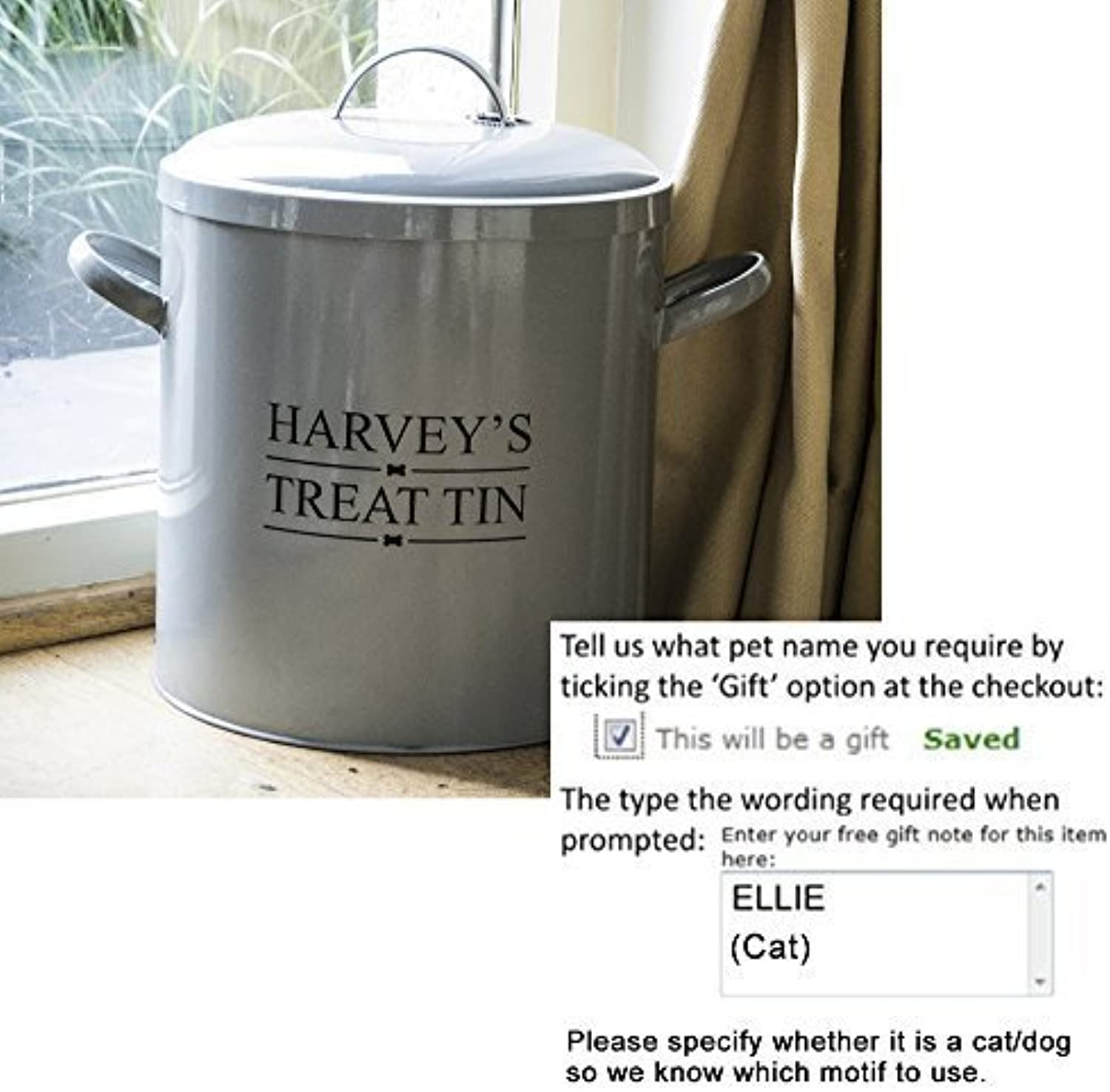Personalised large steel dog or cat food container