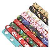 Pigeon Fleet 10 Rollos de Papel de Envoltura Multicolor Set Holiday Wrapping Paper Random Pattern