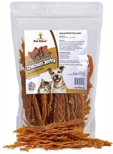 Pet Eden Chicken Jerky Dog Treats Made in USA Only, 1 lb. of Hickory Smoked, Grain Free, All Natural USDA Grade A Chicken Breast Strips
