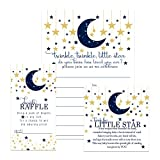 Twinkle Twinkle Little Star Baby Shower Invitation Bundle (25 Guests) Fill-in Blank Invite Boys - Diaper Raffle Tickets - Book Request Cards - White Envelopes - Set Includes 25 Each