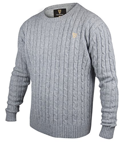 Guinness Grey Cable Knit Cotton/Cashmere Sweater (Large)