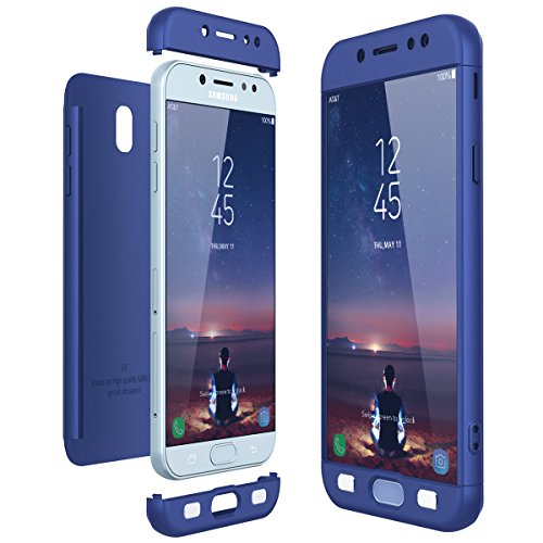 CE-Link Funda Samsung Galaxy J7 2017, Carcasa Fundas para Samsung Galaxy J7 2017, 3 en 1 Desmontable Ultra-Delgado Anti-Arañazos Case Protectora - Azul