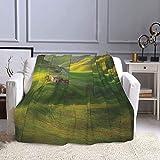 NISENASU Coperta Calda in Pile di Flanella,Tuscany Hills Sunset Scenery Green Meadow Agriculture Country Farm House Theme,Lavabile in Lavatrice per Casa e Ufficio 150X200CM