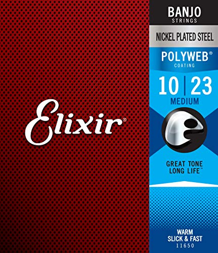 Elixir Strings Banjo Strings w POLYWEB Coating, Medium (.010-.023)