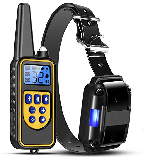 TeqHome Shock Collar for Dogs, Bark Collar with Remote 2600Ft, Dog Training Collar w/3 Modes Beep Vibration and 0~99 Shock Levels, Rechargeable Dog Collars for Small Medium Large Dog