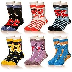 2. Eocom Children's Winter Warm Wool Diosaur Crew Socks (6 Pairs)