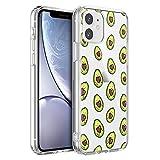 Pnakqil Funda para iPhone 11, Silicona Transparente con Dibujos Diseño Slim Antigolpes Ultrafina de Protector Piel Case Cover Cárcasa Fundas para Movil para iPhone11, Love Avocado