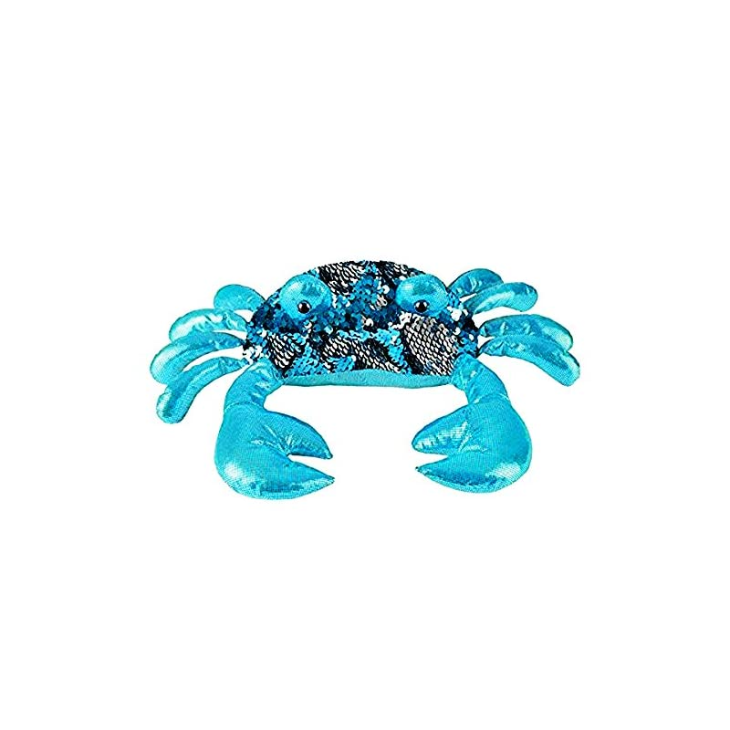 crib bedding and baby bedding sequinimals sequin crab plush stuffed animal reversible sequins turquoise & silver (sg_b07cc4jg62_us)
