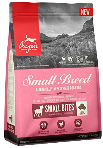 ORIJEN Dry Dog Food for Small Breed Dogs, Grain Free, High Protein, Freeze Dried Liver Infused Kibble, 4lb