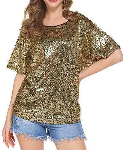 Damen Glitzer Shirt Pailletten Bluse Sequin Oberteile Party Tunika Sparkle Shine Tops Gold XXL