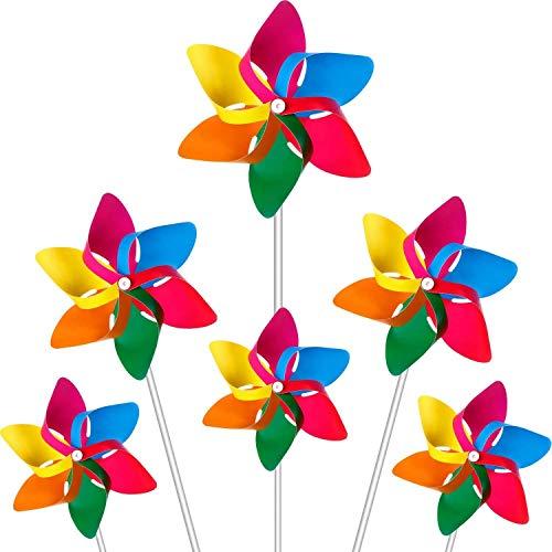Modou 20x Windmühle Windrad Windspiel für Garten & Kinder Gartenstecker im Regenbogen Design,UV-beständig und wetterfestals Garten-Deko, Party-Artikel & Vogelschreck