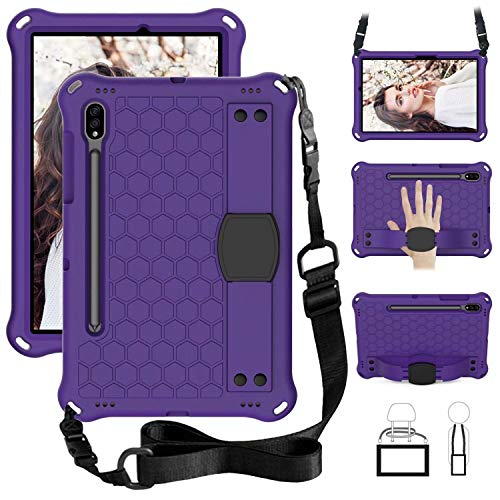 QYiD Kids Case for Galaxy Tab S6 10.5' 2019 SM-T860/T865, Kids Friendly Light Weight EVA Shockproof Case with Handle Stand, Pencil Holder & Shoulder Belt for Galaxy Tab S6 10.5 inch 2019, Purple/Black