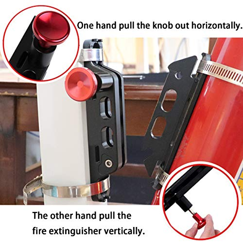 AUFER Quick Release Aluminum Adjustable Roll Bar Fire Extinguisher Mount Holder for Jeep Wrangler UTV Polaris RZR Ranger Camper Van with Pillar(Support 1-10Lb Extinguishers),8 Mounting Clamps