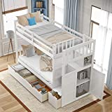 SOFTSEA Twin Over Full Bunk Bed with Storage Shelves and Drawers, Twin Over Twin Bunk Bed with Stairs Wood Convertible Bottom Bed Bedroom Furniture (White)
