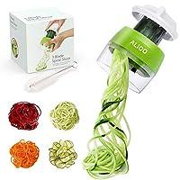 alioo spiralizzatore - spiralizzatore di verdure 4 in 1 affetta verdure affettatore a spirale vegetale veggetti, zucchine pasta tagliatella spaghetti + pennello