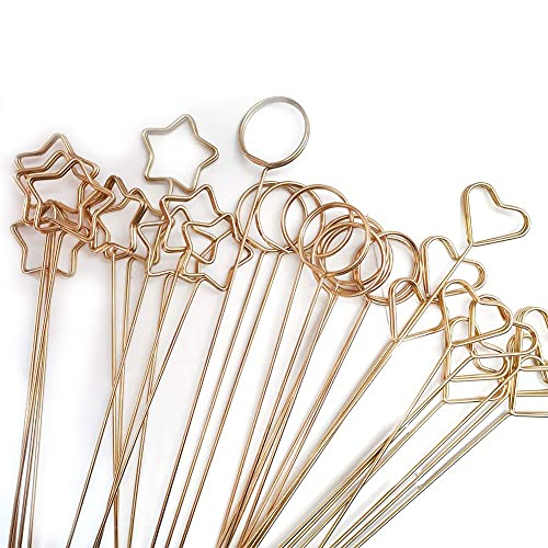 30 Pcs Metal Wire Floral Place Card Holder Pick 13 Inch Gold Photo Clip Memo for Wedding Birthday Baby Shower Party Favor (Love+Round+Pentagram) Love+Round+Pentagram