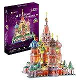 CubicFun Puzzle 3D LED Catedral de San Basilio Rusia Arquitectura Kit de Construcción Modelo, Decoración y Regalo para Adultos y Niños, 224 Piezas