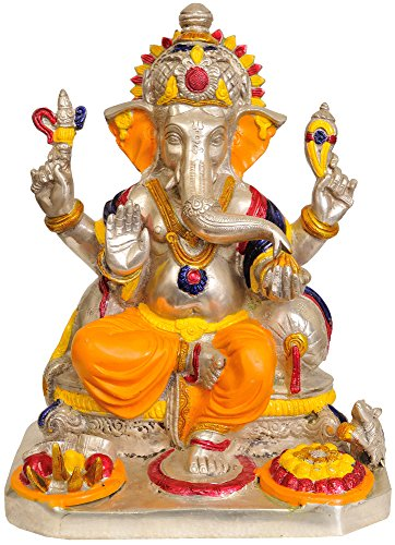 Exotic India ZBU-59 Lord Ganesha Estatua Naranja Dhoti