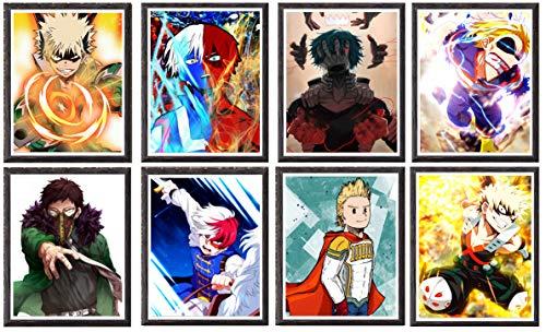 My Hero of Academia pôster de anime sortido All Might Shouto Overhaul Mirio Impressão de arte de parede para decoração, 20 x 25 cm, sem moldura, 8 peças