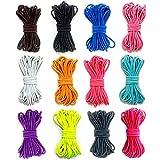 Ewparts Elastic Cord 2.5mm 12Pcs Banda de Goma para niños para Pulsera, Banda para el Cabello, cordón de Cuentas DIY Craft String Cordón de cordón de Rosca