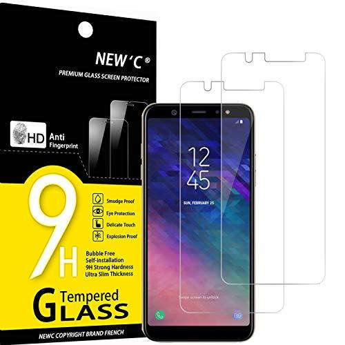 NEW'C 2 Pezzi, Vetro Temperato Compatibile con Samsung Galaxy A6 Plus (2018), Pellicola Prottetiva Anti Graffio, Anti-Impronte, Durezza 9H, 0,33mm Ultra Trasparente, Ultra Resistente