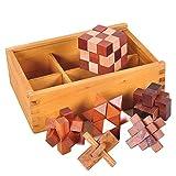 etbotu Magic 3D - Puzzle de madera (6 piezas), diseño de cubos