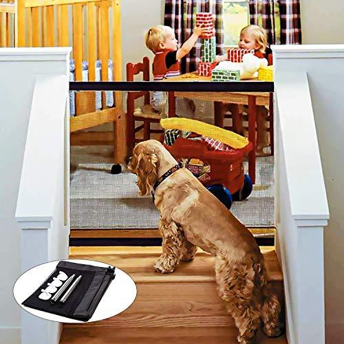WeyTy Absperrgitter Hund, Magic Gate Faltbar Tür- und Treppenschutzgitter - Versetzbar Einziehbares überall Innen- Außenbereich, Hundeschutzgitter Absperrgitter für Hunde/Katzen/Babys 110x72cm