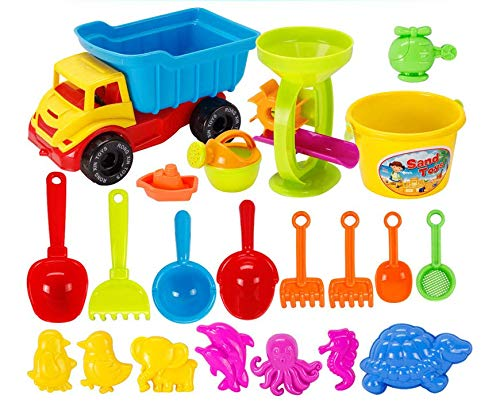 NIWWIN 21 Piece Beach Sand Toy Set Kids Toys Include Truck, Sandbox Bucket...