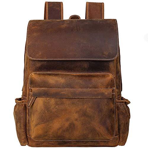 QUARKJK Mochila masculina vintage de couro legítimo, grande capacidade, 40,6 cm, bolsa para computador diária casual, bolsa de negócios, A