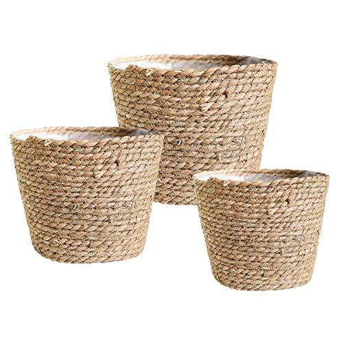 Elibeauty 3er Set Blumentopf rund geflochten aus Seegras mit, stilvolle Pflanzkörbe für Innen- und Außenpflanzen, perfekt Raumdekoration, 18cm + 22cm + 25cm (Beige)