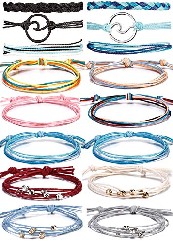 BOMAIL 14-16 Pieces Wave Bracelet Braided Rope Bracelet SetHandmade Adjustable Friendship Bohemian Bracelet Handcrafted Jewelry for Women Girl