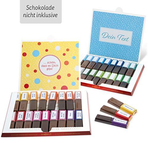 Netti Li Jae ® Aufkleber Set für Merci Schokolade für 2 persönliche Geschenke: Das persönliche Dankeschön und kreative Geschenkidee (Lass Dich feiern)