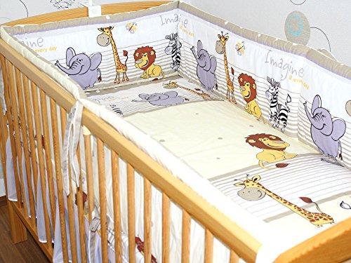 Nestchen Bettumrandung Kopfschutz Für Baby Kind - Safari beige - 190cm, 360 cm, 420cm für Bett 70x140 cm, 60x120cm 420 cm