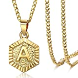 Trendsmax Hexagon Initial Letter A Alphabet Pendant Necklace Gift for Women Girls Gold Plated Stainless Steel Curb Cuban Link Chain Necklace Length Personalized