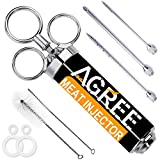 AMGREE Meat Injector Kit,304 Stainless Steel BBQ Marinade Injector with 2-OZ Capacity Barrel and 3...